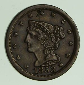 1853 BRAIDED HAIR HALF CENT   NEAR UNCIRCULATED  7458