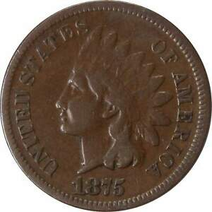 1875 1C INDIAN HEAD CENT PENNY US COIN F FINE