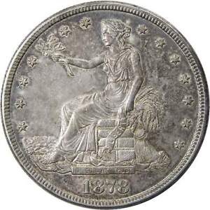 1878 S $1 TRADE SILVER DOLLAR US COIN AU ABOUT UNCIRCULATED