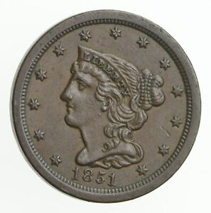 1851 BRAIDED HAIR HALF CENT  2294