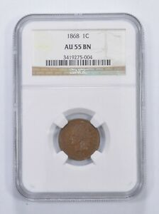 AU55 BN 1868 INDIAN HEAD CENT   GRADED NGC  6566