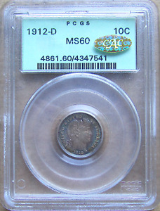 1912 D BARBER DIME MONSTER TONED BEAUTY OGH PCGS MS 60 GOLD CAC POP 1