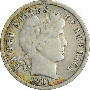 1901 S BARBER SILVER DIME F UNCERTIFIED