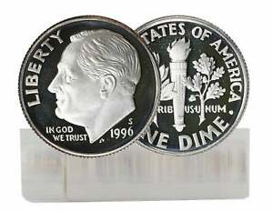 1996 S PROOF ROOSEVELT DIME ROLL SILVER