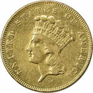 1857 $3 GOLD VF UNCERTIFIED