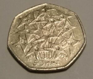 UK COMMEMORATIVE CIRCULATED 50P COIN  1998    25TH ANNIVERSARY OF UK IN EUROPE