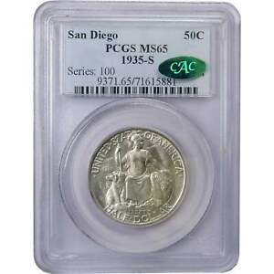 1935 S 50C SAN DIEGO COMMEMORATIVE SILVER HALF DOLLAR COIN MS 65 PCGS & CAC
