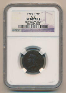Click now to see the BUY IT NOW Price! 1793 FLOWING HAIR HALF CENT. NGC XF DETAILS