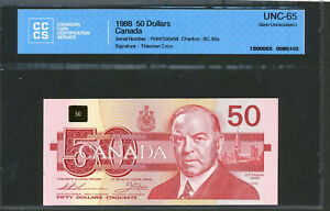 Click now to see the BUY IT NOW Price! 1988 $50 BANK OF CANADA CCCS GEM UNC65. BC 59A. THIESSEN CROW. FHH7530458