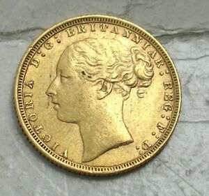 1872 GREAT BRITAIN GOLD SOVEREIGN..  VICTORIA  YOUNG HEAD