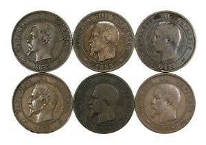 LOT OF 12 1853 1863 FRANCE 10 CENTIMES 150849