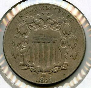1874 SHIELD NICKEL   FIVE CENTS BH102