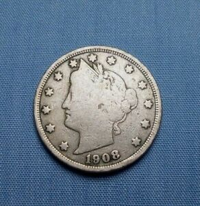 1908 LIBERTY HEAD NICKEL UNITED STATES COMPOSITION COPPER/NICKEL