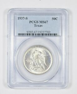 MS67 1937 S TEXAS INDEPENDENCE COMMEMORATIVE HALF DOLLAR   GRADED PCGS  8063
