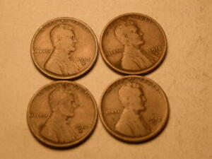 1912 D  LOT OF 4 NICE GOOD BROWN LINCOLN CENTS
