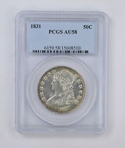 AU58 1831 CAPPED BUST HALF DOLLAR   PCGS GRADED  4960