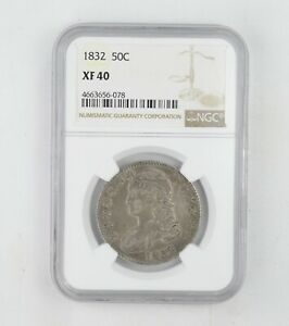 XF40 1832 CAPPED BUST HALF DOLLAR   NGC GRADED  0230