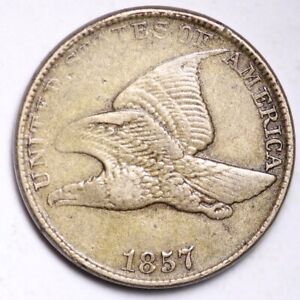 1857 FLYING EAGLE SMALL CENT CHOICE VF  E143 RNT