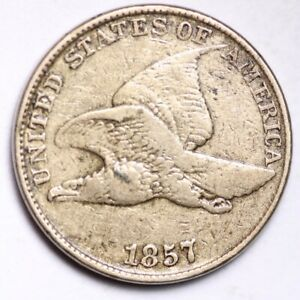 1857 FLYING EAGLE SMALL CENT CHOICE FINE  E147 RNT