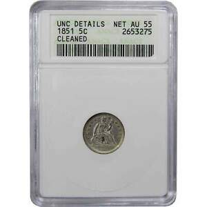 1851 5C SEATED LIBERTY SILVER HALF DIME COIN UNCIRCULATED DETAILS ANACS