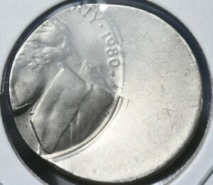 1980 P JEFFERSON NICKEL OFF CENTER BROAD STRUCK