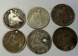 AMAZING LOT OF 6 COINS 150 YEARS OLD 1854 1861 SEATED LIBERTY HALF DIME A172