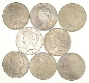 LOT  8  1934 D PEACE SILVER DOLLARS   NICE COINS  0800