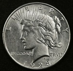1923 D PEACE SILVER DOLLAR ERROR LARGE DIE CRACK OBV AROUND EDGE OF COIN. 145410