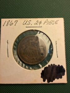 1867 P TWO CENT SHIELD COIN: NECKLACE HOLE