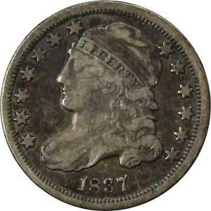 1837 10C CAPPED BUST SILVER DIME COIN VF FINE