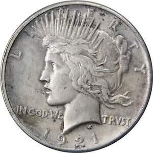 1921 $1 PEACE SILVER DOLLAR COIN AU ABOUT UNCIRCULATED DETAILS