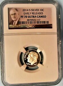 2014 S SILVER NGC PF 70 ULTRA CAMEO ROOSEVELT DIME  EARLY RELEASES  PORTRAIT