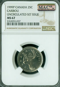 1999 P TEST CANADA 25 CENTS NGC MS67 PQ 2ND FINEST GRADE MAC SPOTLESS