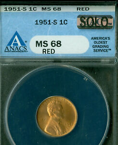 Click now to see the BUY IT NOW Price! 1951 S LINCOLN CENT ANACS MS68 RD PQ SPOTLESS MAC SOLO FINEST GRADED SPOTLESS