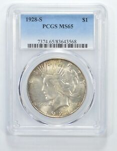 Click now to see the BUY IT NOW Price! MS65 1928 S PEACE SILVER DOLLAR   GRADED PCGS  6432