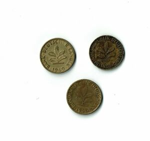 LOT OF 3 1949 1950 G D 5 PFENNIG COINS