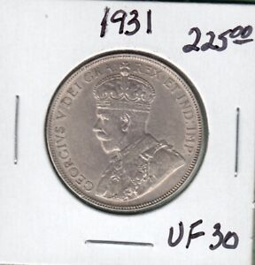 1931 CANADIAN 50 CENTS SILVER COIN   VF 30