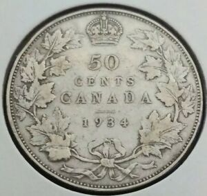 CANADA 50 CENTS SILVER COIN 1934 KING GEORGE V