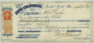 1872 GOLD HILL NEVADA BANK OF CALIFORNIA $25 OBSOLETE CERTIFICATE OF DEPOSIT