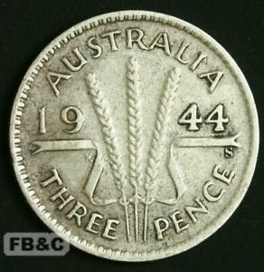WW2 1944 S AUSTRALIA THREEPENCE SILVER COIN KM37 GEORGE VI   SAN FRANCISCO MINT