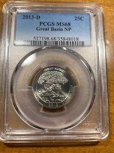 2013 D 25C GREAT BASIN NP AMERICA THE BEAUTIFUL QUARTER PCGS MS68