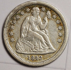 1842 LIBERTY SEATED DIME. ERROR RECOGNIZED  CUD OBV. @ 10:00.  XF AU. 146819