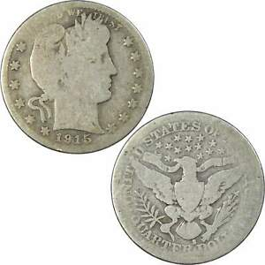 1915 S 25C BARBER SILVER QUARTER COIN AG ABOUT GOOD