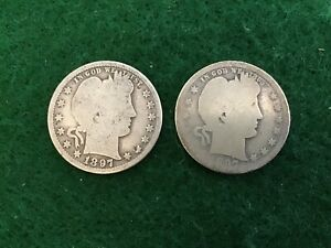LOT  2013//  BARBER QUARTERS 1897 1897O  IN AG CONDITION