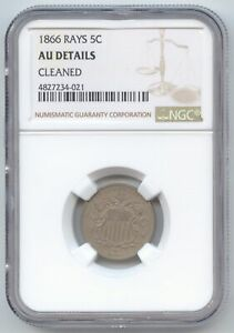 1866 WITH RAYS SHIELD NICKEL NGC AU DETAILS