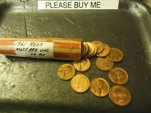 1961 P LINCOLN CENT ROLL      MOST ARE UNCIRCULATED                >> C/S & H <<