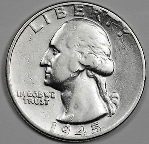 1945 P WASHINGTON QUARTER.  HIGH GRADE.    INV. E.
