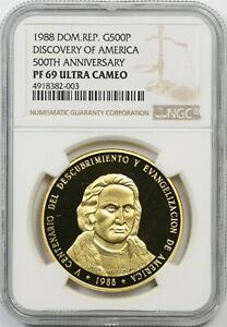 Click now to see the BUY IT NOW Price! 1988 DOMINICAN REPUBLIC NGC PF69 UCAM DISCOVERY OF AMERICA 50TH ANNIV 500 PESOS