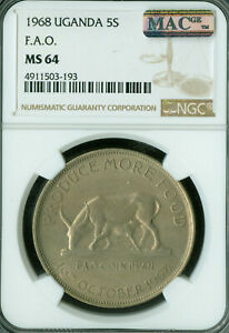 Click now to see the BUY IT NOW Price! 1968 UGANDA 5 SHILLINGS F.A.O NGC MS64 PQ 2ND FINESTB GRADE MAC SPOTLESS