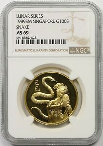 Click now to see the BUY IT NOW Price! 1989SM SINGAPORE SNAKE G100S NGC MS 69  LUNAR SERIES  GOLD 100 SINGOLD